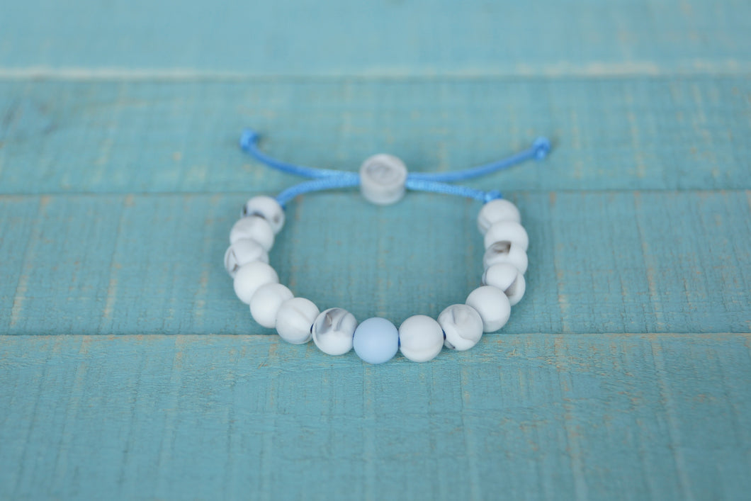 marble with blue accent bead  adjustable silicone bracelet