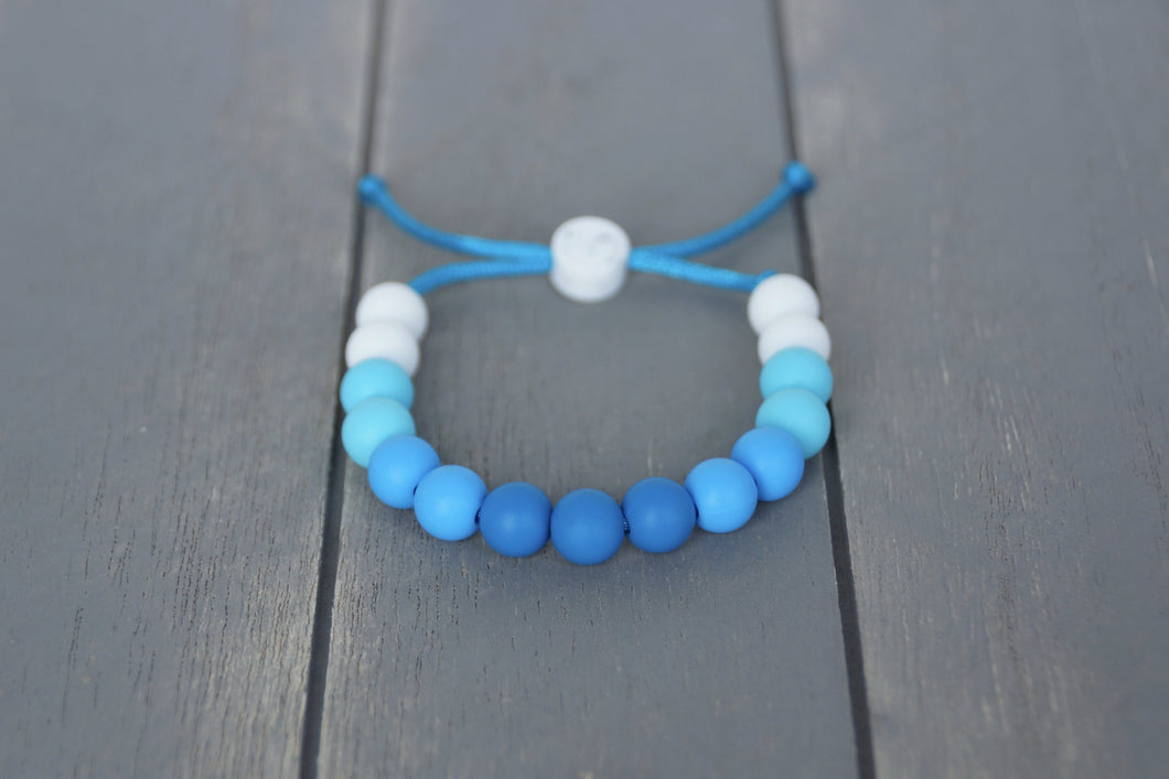 blue ombre adjustable silicone bead bracelet