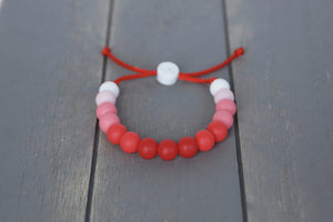 Red ombre adjustable silicone bead bracelet
