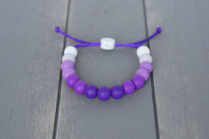 purple ombre  adjustable silicone bead bracelet