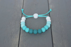 Turquoise Teal ombre adjustable silicone bead bracelet