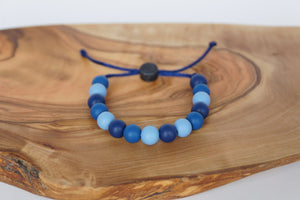 Blue camo adjustable silicone bead bracelet