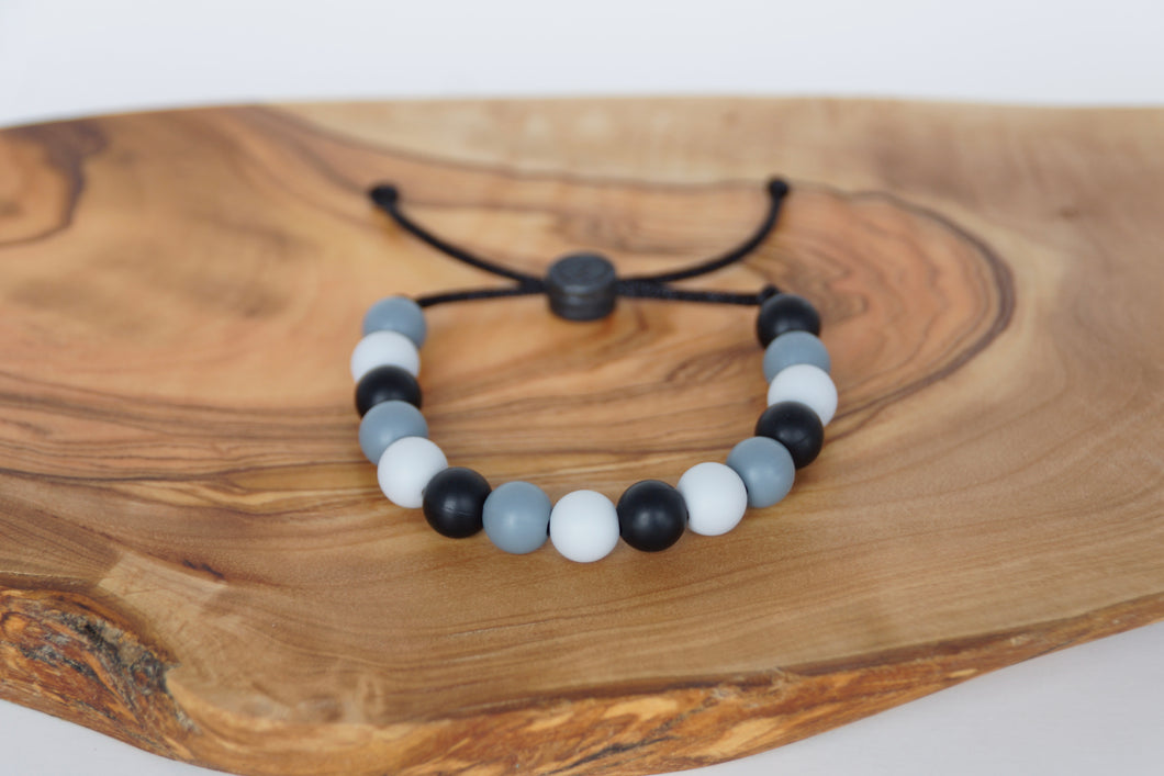 grey camo adjustable silicone bead bracelet