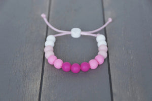 Pink ombre adjustable silicone bead bracelet