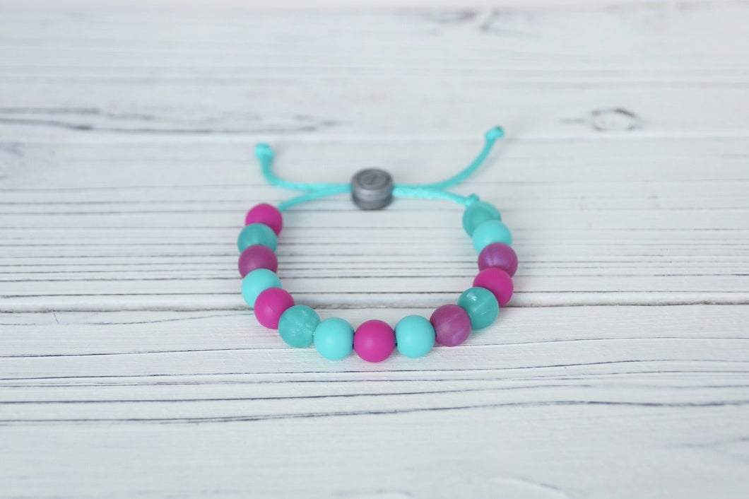 Mermaid colours adjustable silicone bead bracelet