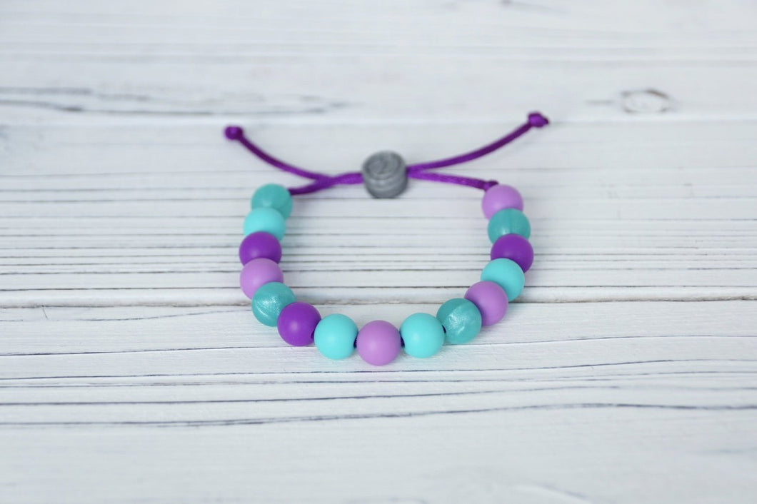 Purple and turquoise mermaid inspired  adjustable silicone bead bracelet