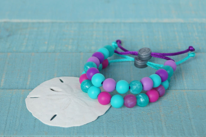 Mermaid colours adjustable silicone bead bracelets