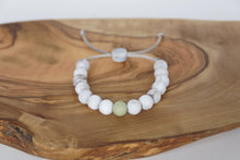 Load image into Gallery viewer, Brown marble with moss colour accent bead adjustable silicone bracelet