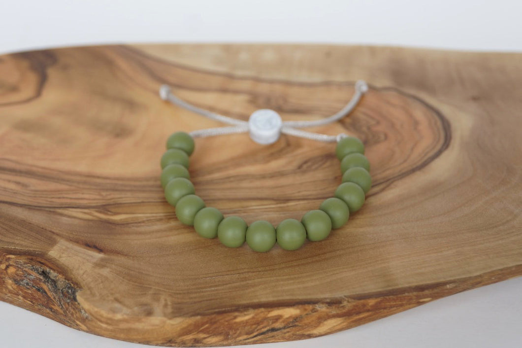 Army green adjustable silicone bead bracelet