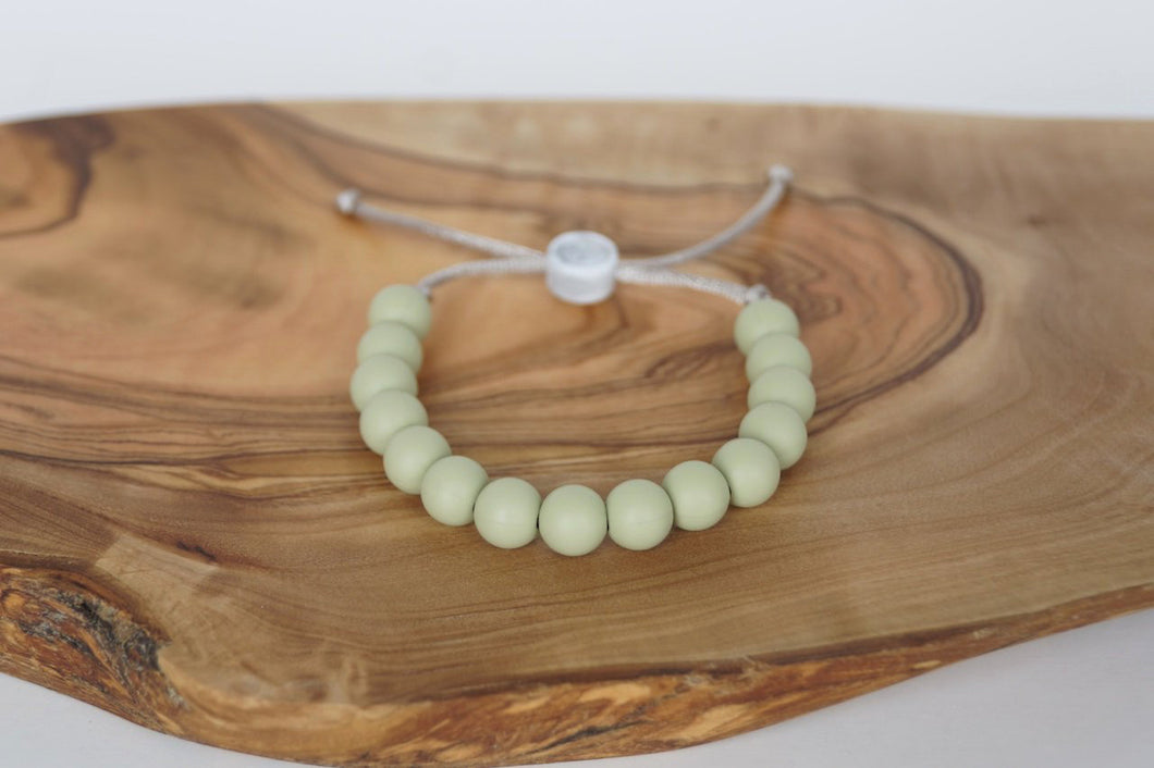 moss coloured adjustable silicone bead bracelet