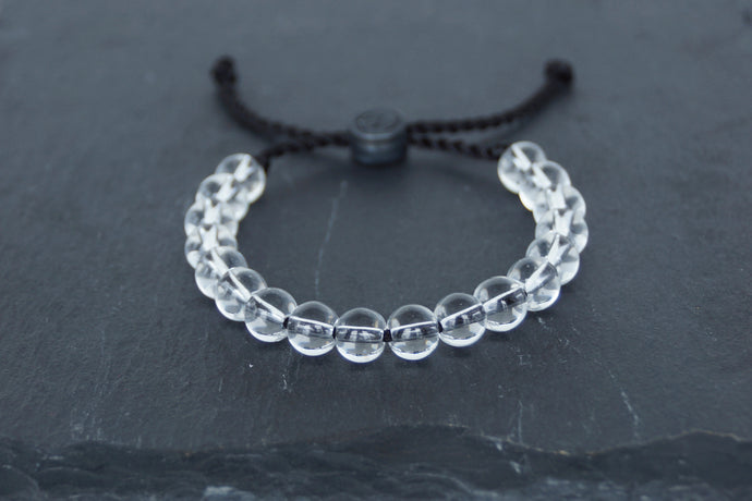 Clear glass adjustable bracelet on twisted black nylon cord