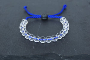 Clear glass adjustable bracelet on twisted royal blue nylon cord