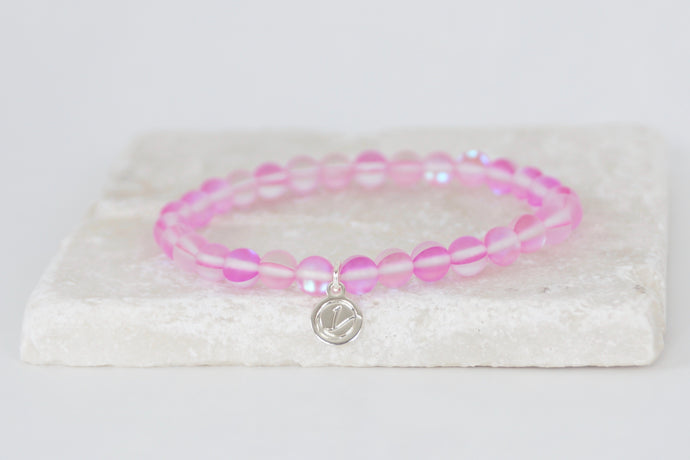 pink moonstone bracelet on elastic