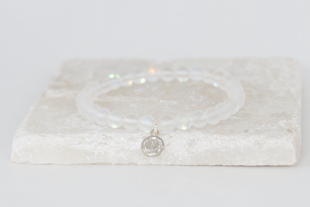 White moonstone bracelet on elastic