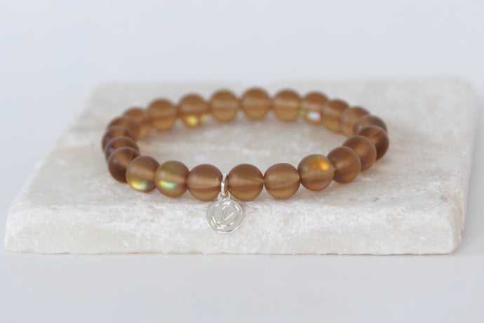 Brown moonstone bracelet on elastic