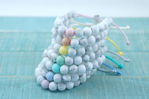 White marble with pastel accent bead adjustable silicone bracelets