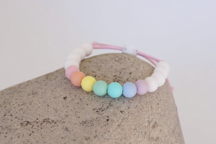unicorn inspired pastel and white beads adjustable silicone bracelet
