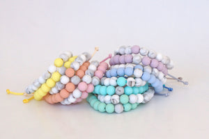 Sets of 2 white marble with pastel accent beads adjustable silicone bracelets