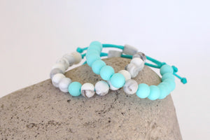 set of 2 marble and turquoise adjustable silicone bead bracelets