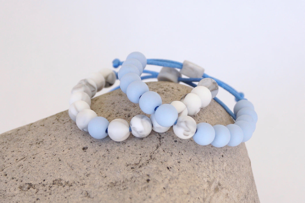 Set of 2 marble and light blue  adjustable silicone bead bracelets