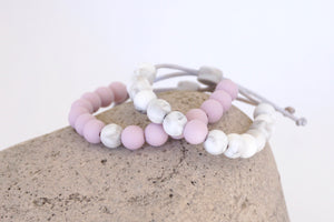 set of 2 lilac and white marble adjustable silicone bead bracelets