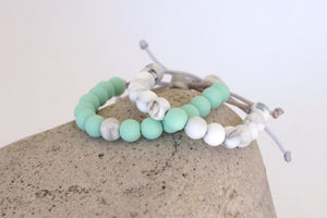 set of 2 white marble and mint beads adjustable silicone bracelets