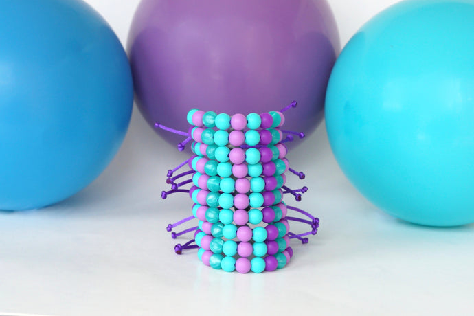 mermaid adjustable silicone bead bracelets party pack