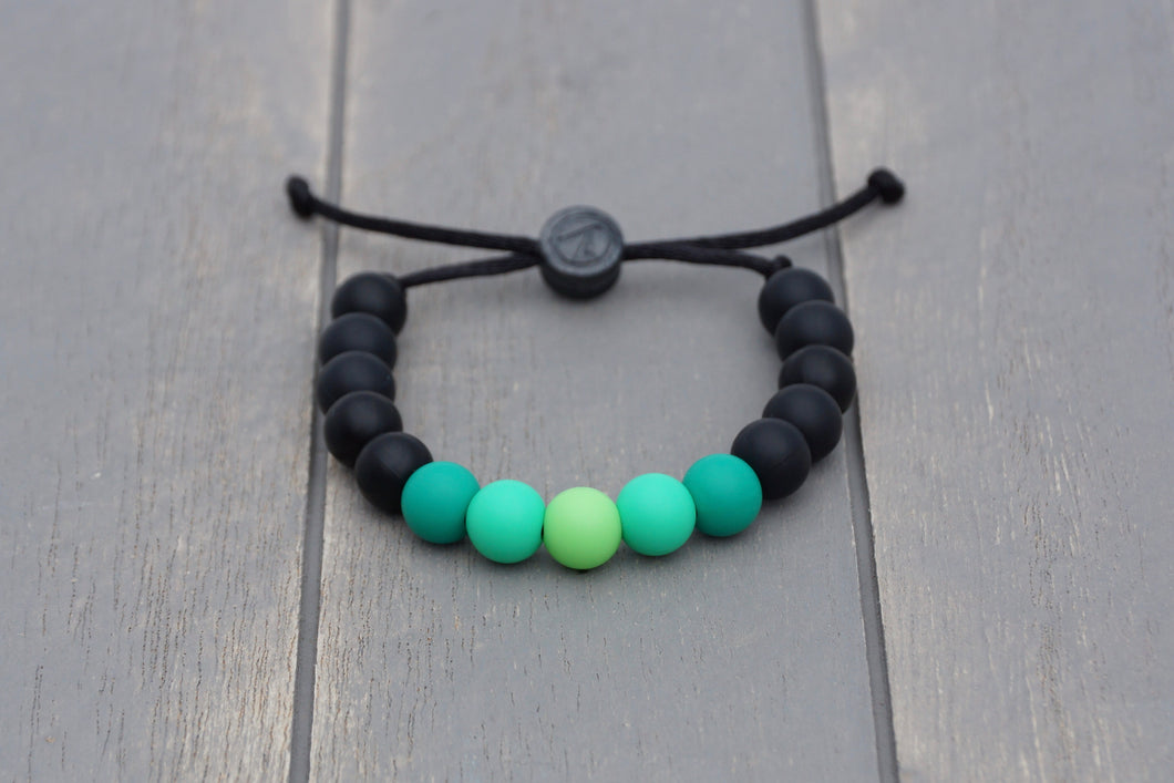 black and green ombre adjustable silicone bead bracelet