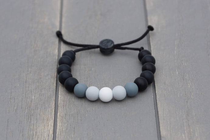 black and grey ombre adjustable silicone bead bracelet