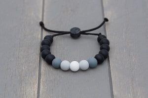 Black, grey and white ombre adjustable silicone bead bracelet