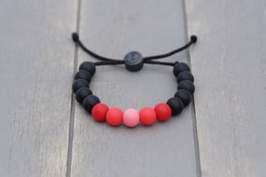 black and red ombre adjustable silicone bead bracelet
