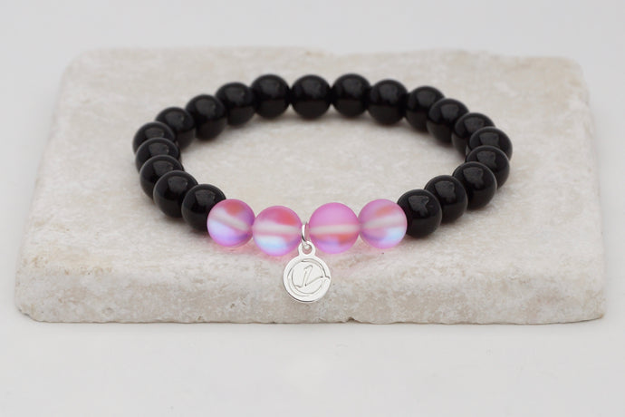 Black glass with pink moonstone bracelet on elastic