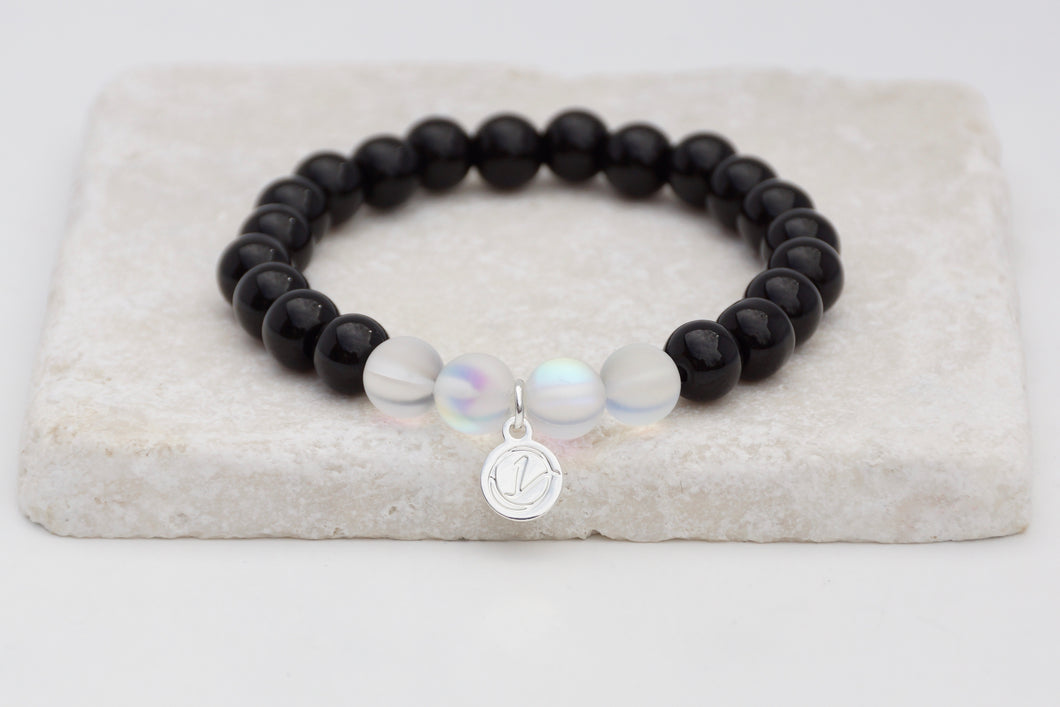Black glass with white moonstone bracelet on elastic