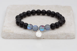 Black glass with grey moonstone bracelet on elastic