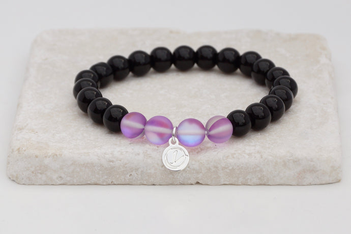 Black glass with purple moonstone bracelet on elastic