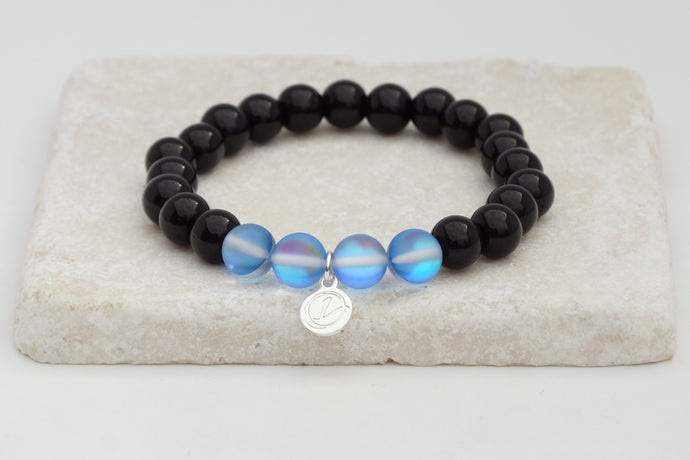 Black glass with blue moonstone bracelet on elastic