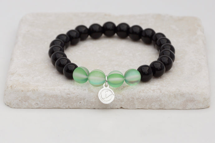 Black glass with green moonstone bracelet on elastic