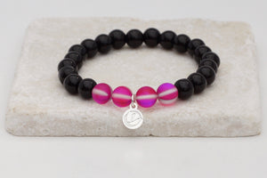 Black glass with fuchsia moonstone bracelet on elastic