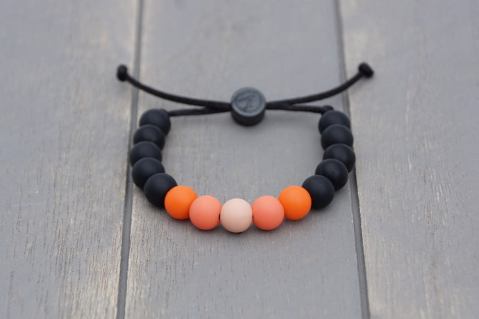 black and orange ombre adjustable silicone bead bracelet