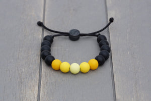 Black and yellow ombre adjustable silicone bead bracelet