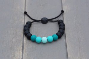 Black and turquoise ombre adjustable silicone bead bracelet