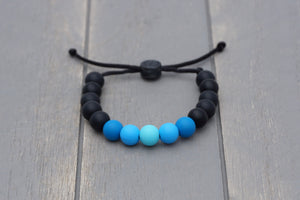 Black and aqua blue ombre adjustable silicone bead bracelet