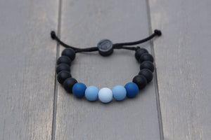 Black and blue ombre adjustable silicone bead bracelet