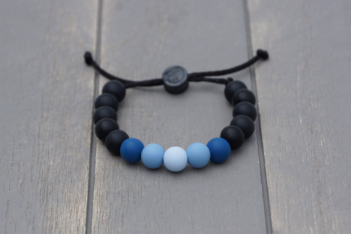 Black with blue ombre adjustable silicone bead bracelet