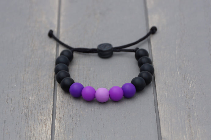 black and purple ombre  adjustable silicone bead bracelet