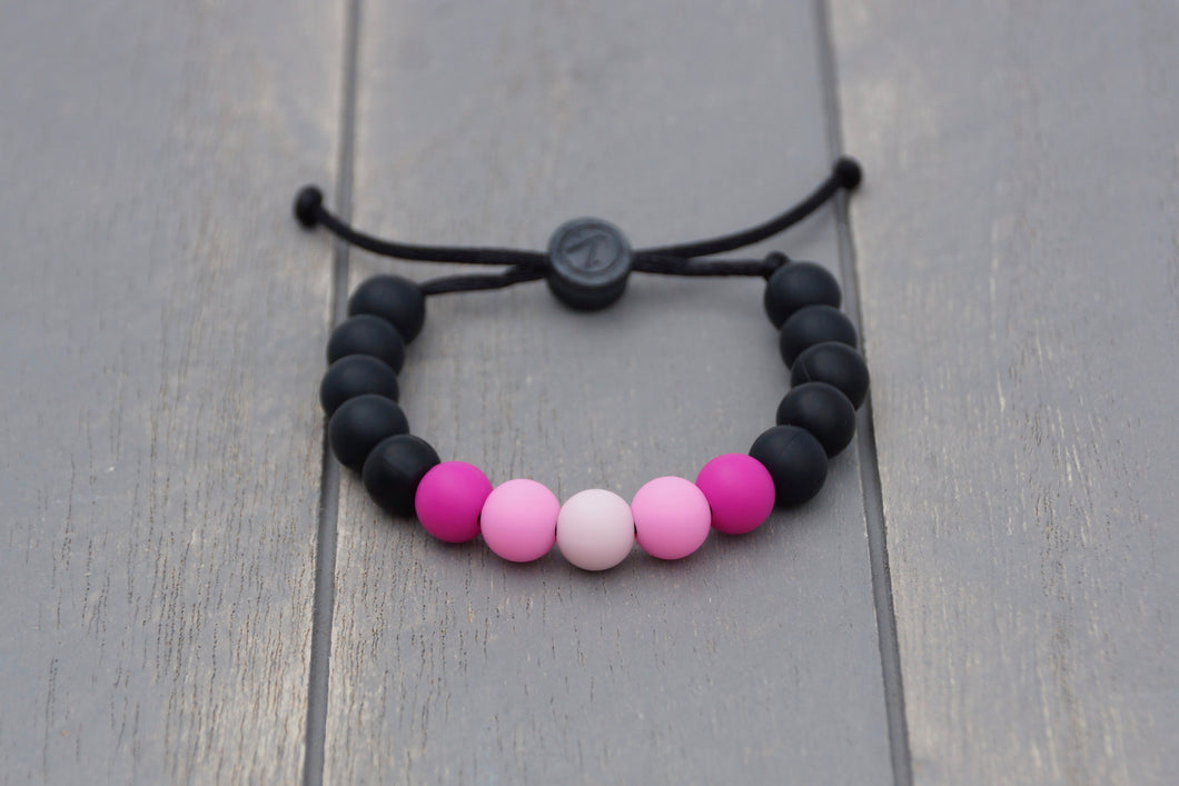 black and pink ombre  adjustable silicone bead bracelet
