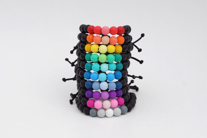 Dark ombre adjustable silicone bead bracelets in a rainbow of colours