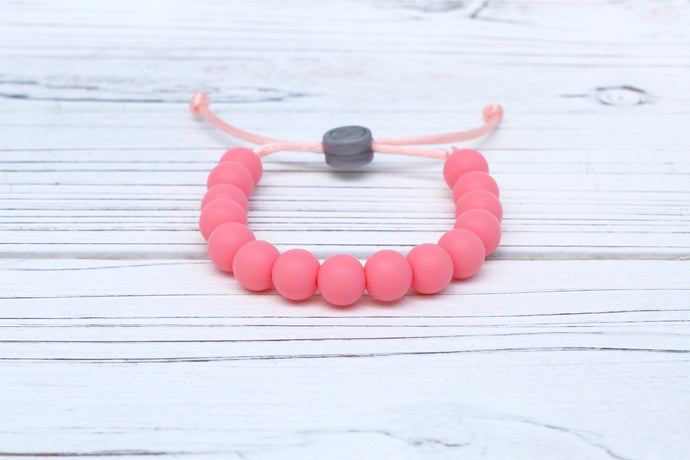 pink  adjustable silicone bead bracelet