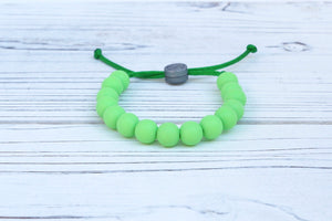 Green adjustable silicone bead bracelet