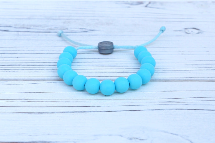 Aqua-blue adjustable silicone bead bracelet